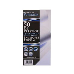 Ryman Prestige Ultra Smooth Envelopes DL 120gsm Heavy Weight Peel & Seal Pack of 50