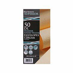 Ryman Hammer Finish Envelopes DL 120gsm Peel & Seal Pack of 50 Vellum