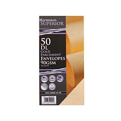 Ryman Parchment Envelopes DL 90gsm Peel & Seal Pack of 50 Gold