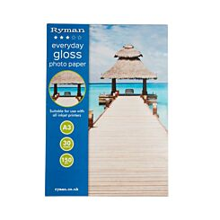 Ryman Everyday Gloss Photo Paper A3 150gsm 30 Sheets