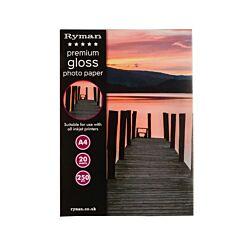 Ryman Premium Gloss Photo Paper A4 250gsm 20 Sheets