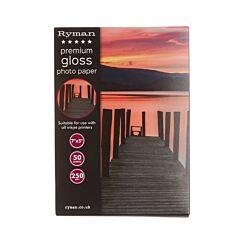 Ryman Premium Gloss Photo Paper 7x5 Inch 250gsm 50 Sheets