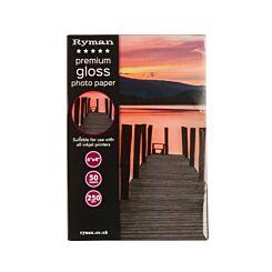 Ryman Premium Gloss Photo Paper 6x4 Inch 250gsm 50 Sheets
