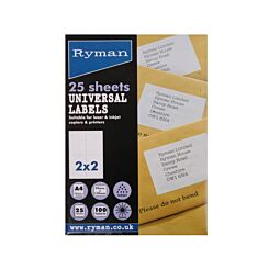 Ryman Universal Labels 139x99mm pack 25 sheets