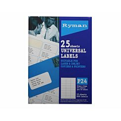 Ryman Address Labels P24 Universal 64x34mm 24 per A4 Sheet 25 sheets