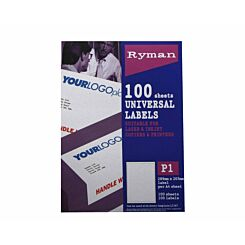 Ryman Address Labels P1 Universal 289x205mm A4 100 sheets