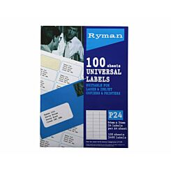 Ryman Address Labels P24 Universal 34x64mm 24 per A4 Sheet 100 sheets