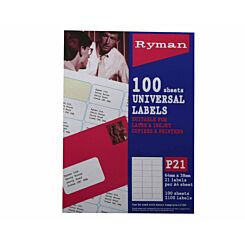 Ryman Address Labels P21 Universal 64x38mm 21 per A4 Sheet 100 sheets