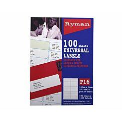 Ryman Address Labels P16 Universal 100x34mm 16 per A4 Sheet 100 Sheets