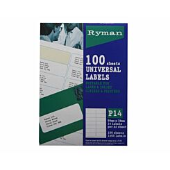 Ryman Address Labels P14 Universal 38x99mm 14 per A4 Sheet 100 sheets