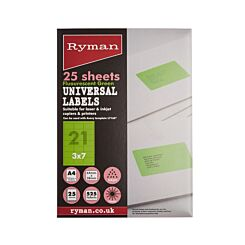 Ryman Universal Labels 21 Per Sheet Pack of 25 Sheets