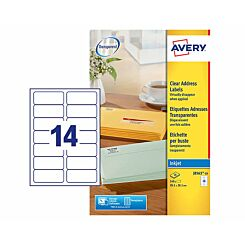 Avery Inkjet Labels 38x99mm 14 per A4 Sheet 10 sheets Clear