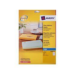 Avery Inkjet Labels 63.5x38.1mm 21 per Sheet 10 Sheets Clear
