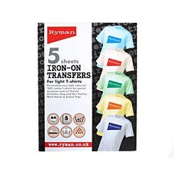 Ryman T-Shirt Transfers A4 Iron On Light Colours Pack of 5