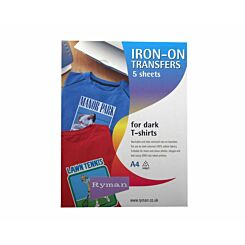 Ryman T-Shirt Transfers  A4  Iron On Dark Colours Pack of 5
