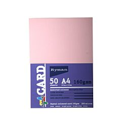 Ryman Adagio Card A4 160gsm 50 Sheets light assorted