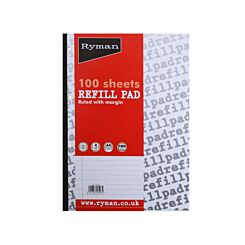 Ryman Refill Pad A4 Wide Ruled With Margin 200 Pages 100 Sheets