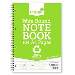 Silvine Recycle Wire Notebook 104 Page A4 Pack of 12