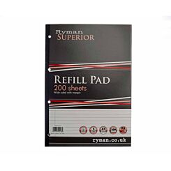 Ryman Superior Pad A4 Wide Ruled With Margin Side Bound 400 Pages 200 sheets