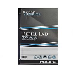 Ryman Superior Pad A4 Narrow Ruled With Margin Side Bound 400 Pages 200 Sheets