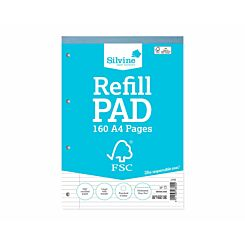 Silvine Refill Pad A4 Ruled With Margin 160 Pages 80 Sheets