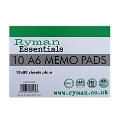 Ryman Memo Pad A6 65gsm Plain 160 Pages 80 Sheets