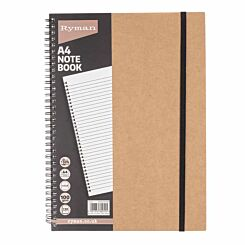 Ryman Kraft Notebook Wirebound Ruled A4