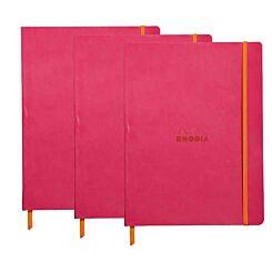 Rhodiarama B5 Ruled Notebook Pack of 3 Raspberry Pink
