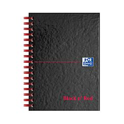 Oxford Black n Red A6 Notebook 140 Pages Wirebound Hardback Ruled