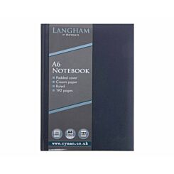 Ryman Langham Notebook A6 192 Pages 96 Sheets Blue