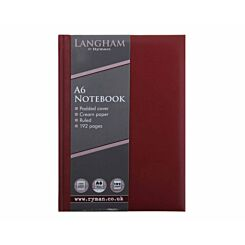 Ryman Langham Notebook A6 192 Pages 96 Sheets Burgundy