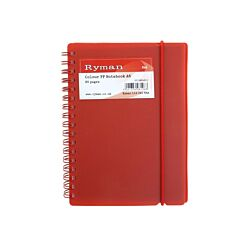 Ryman Colour Polypropylene Notebook A6 80 Pages 40 Sheets Red