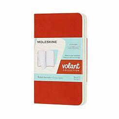 Moleskine Volant Notebook XS Ruled Pack of 2 Coral/Aqua