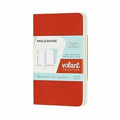 Moleskine Volant Notebook XS Plain Pack of 2 Coral/Aqua
