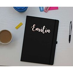 Ryman Personalised Soft Cover Medium Notebook in Copper Foil Black