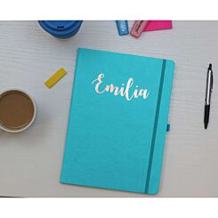Ryman Personalised Soft Cover Medium Notebook in Copper Foil Teal