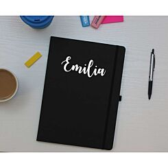 Ryman Personalised Soft Cover Medium Notebook in Silver Foil Black
