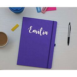 Ryman Personalised Soft Cover Medium Notebook in Silver Foil Purple