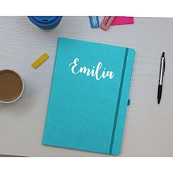 Ryman Personalised Soft Cover Medium Notebook in Silver Foil Teal