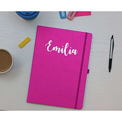 Ryman Personalised Soft Cover Medium Notebook in Silver Foil Pink
