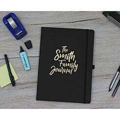 Ryman Personalised Soft Cover Medium Notebook The Journal in Silver Foil Black