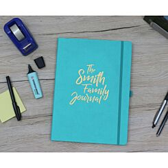 Ryman Personalised Soft Cover Medium Notebook The Journal in Silver Foil Teal