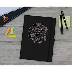 Ryman Soft Cover Medium Ruled Notebook Ingenious Moments Copper Foil Black