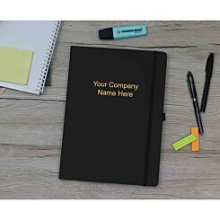 Ryman Soft Cover Notebook Medium Ruled 192 Pages Black Personalised with Foiling