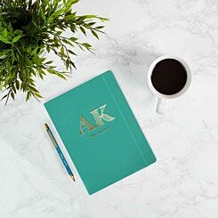 Personalised Ryman Teal Soft Cover Notebook and Teal Pen Gift Set