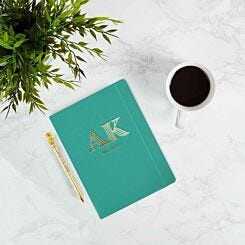 Personalised Ryman Teal Soft Cover Notebook and Pineapple Pen Gift Set