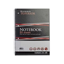Ryman Superior Refill Pad A4 Ruled With Margin Perforated Wiro Bound 160 Pages 80 Sheets