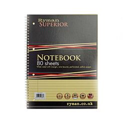 Ryman Superior Refill Pad A4 Ruled With Margin Perforated Wirebound 160 Pages 80 Sheets