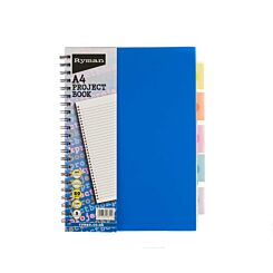 Ryman Project Book A4 5 Dividers Pack of 3 Blue