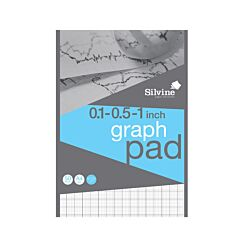 Silvine A4 Professional Graph Pad 1 Inch Squared 50 Sheets 85gsm